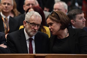 Mary Lou McDonald, leader of Sinn Féin, and the Labour leader, Jeremy Corbyn