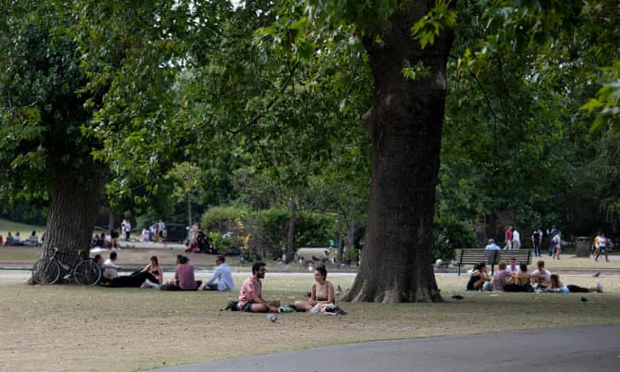 People relaxing in Regent's Park, London