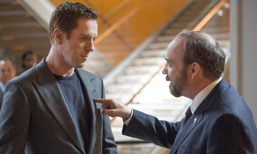 "Damian Lewis as Bobby ""Axe"" Axelrod and Paul Giamatti as Chuck Rhoades in Billions"