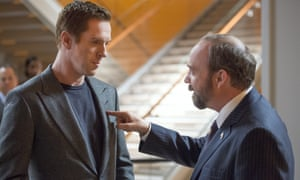 Locking horns ... Axe (Damian Lewis) and Chuck (Paul Giamatti) in Billions