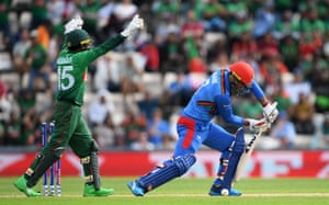 Mushfiqur Rahim celebrates as Afghanistan's Mohammad Nabi is bowled out.