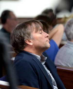 Film director Richard Linklater at the sentencing hearing of Bernie Tiede, April 2016