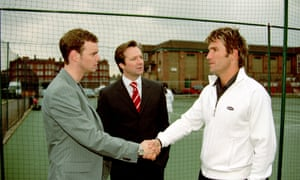 Scott (Jo Absolom), Trevor (Neil Pearson) and Pat Cash in the BBC's much-missed Trevor's World of Sport.