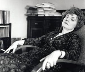 Sly gestures … Muriel Spark in 1975.