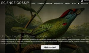 The front page of the Science Gossip website, one of many citizen science projects within Zooniverse.