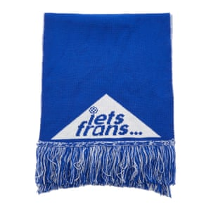 blue and white lets frans football scarf