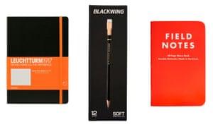Leuchtturm Link notebook, £13.50Blackwing pencils, £24.95 (a box) Field Notes notebook, £9.25All from bureaudirect.co.uk