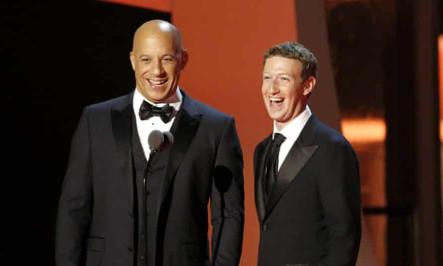Actor Vin Diesel (left) and Breakthrough prize co-founder Mark Zuckerberg during the 2017 Breakthrough prize ceremony at Nasa Ames Research Center.