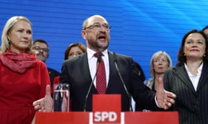 Social Democrat (SPD) and chancellor candidate Martin Schulz speaks after initial results gave the party 20.4% of the vote, giving it a second place finish, in German federal elections in Berlin.
