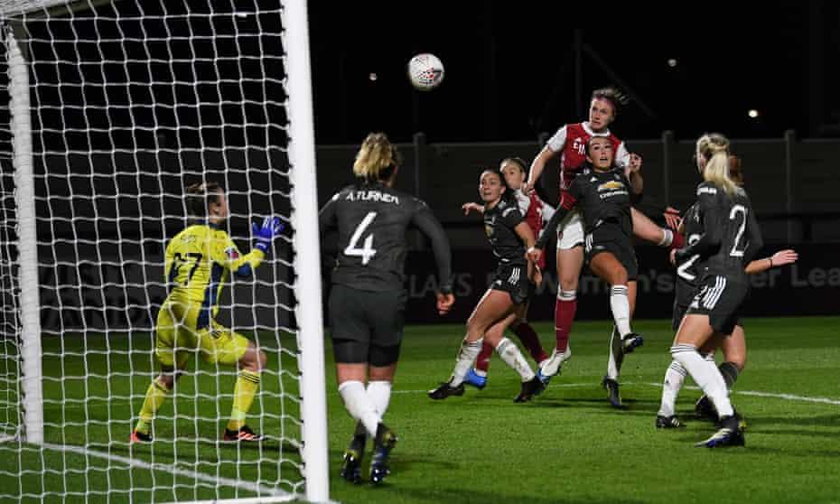 Lotte Wubben-Moy scores for Arsenal against Manchester United last month.