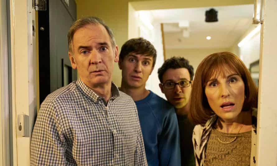 Paul Ritter, left, as Martin in a 2016 episode of Channel 4's Friday Night Dinner with, from left: Tom Rosenthal, Simon Bird and Tamsin Greig.