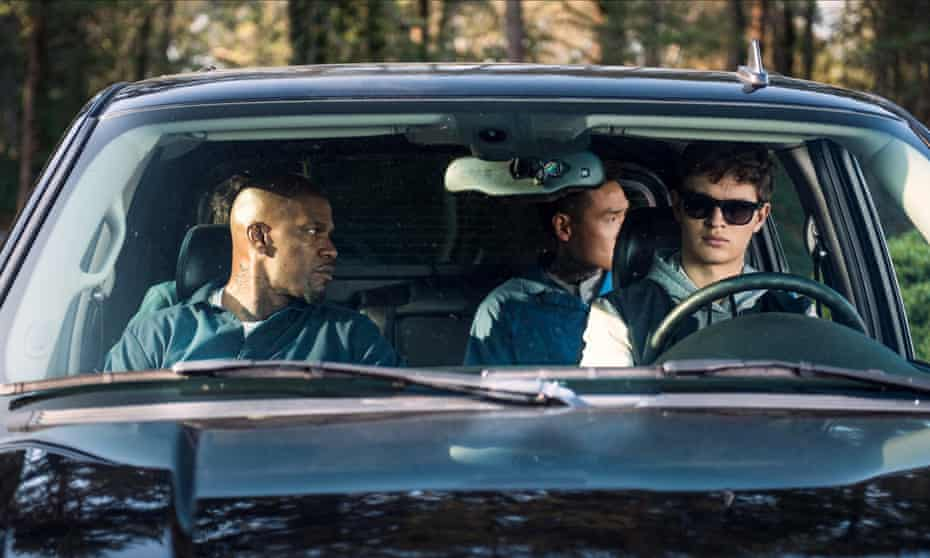 'A blast': Jamie Foxx, left, and, right, Ansel Elgort as the eponymous Baby Driver.