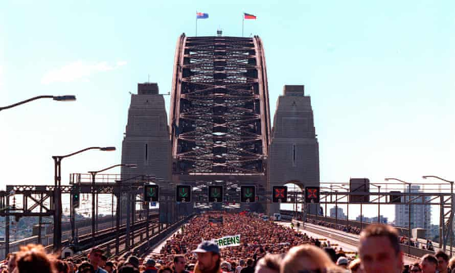 Crowds of more than 100, 000 walk across Sydney Harbour Bridge in the 'Walk for Reconciliation' in 2000.
