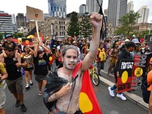 Chants of 'Always was, always will be Aboriginal land' rang out through Brisbane's CBD.