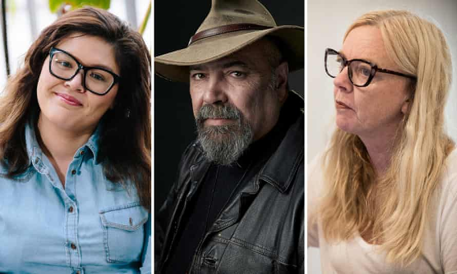 Australian playwrights Nakkiah Lui, Richard Frankland and Suzie Miller