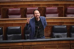 Pablo Iglesias, Spain's deputy prime minister, speaking in parliament 27 May