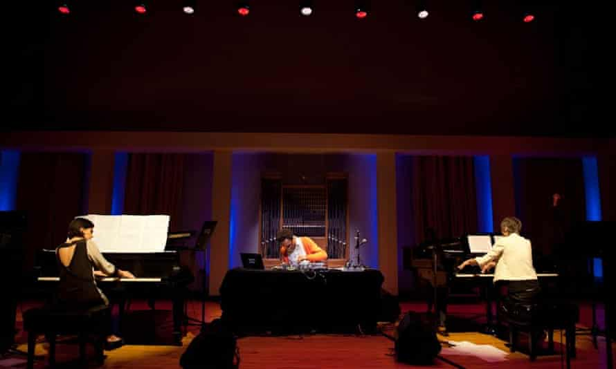 A trio of two pianists and a DJ perform at Meakusma festival in Belgium.