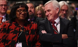 'His comrades from the 70s would turn in their graves': John McDonnell and Diane Abbott share a joke at the Labour party conference in Liverpool last week