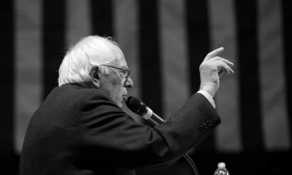 Democratic presidential candidate Bernie Sanders speaks during a town hall meeting in Ottumwa, Iowa.