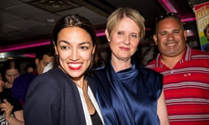 Nixon joins Alexandria Ocasio-Cortez to celebrate the latter's election to Congress in 2018.