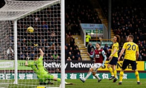 Burnley's Jay Rodriguez watches his close-range effort crash down off the crossbar