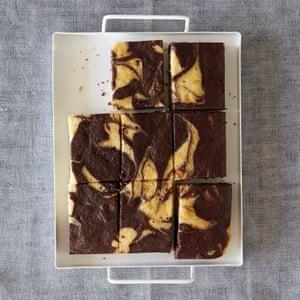 Mary Berry's vanilla and chocolate marble traybake.