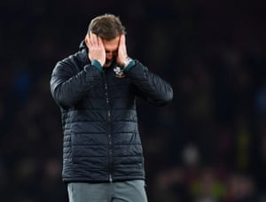 Southampton manager Ralph Hasenhuttl reacts after Alexandre Lacazette score the equaliser in the 96th minute to draw the game.