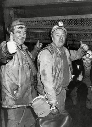 The coal industry was privatised in 1994. Miners are pictured at the top of the Clipstone pit shaft in January 1994 when the pit was taken over by RJB mining. It had been closed since April 2003