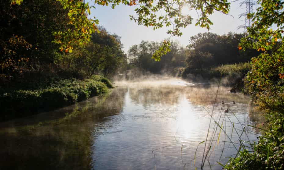 Early morning mist on the River Wandle, London.