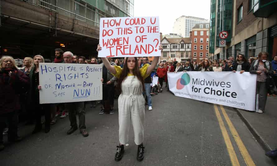 People protest in Dublin at plans to grant ownership of the National Maternity Hospital to the Sisters of Charity, April 2017.