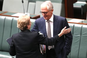 The Prime Minister Malcolm Turnbull and the member for Ryan Jane Prentice before question time