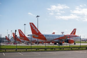 Easyjet planes parked at Southend airport in Essex, UK, on 14 April.