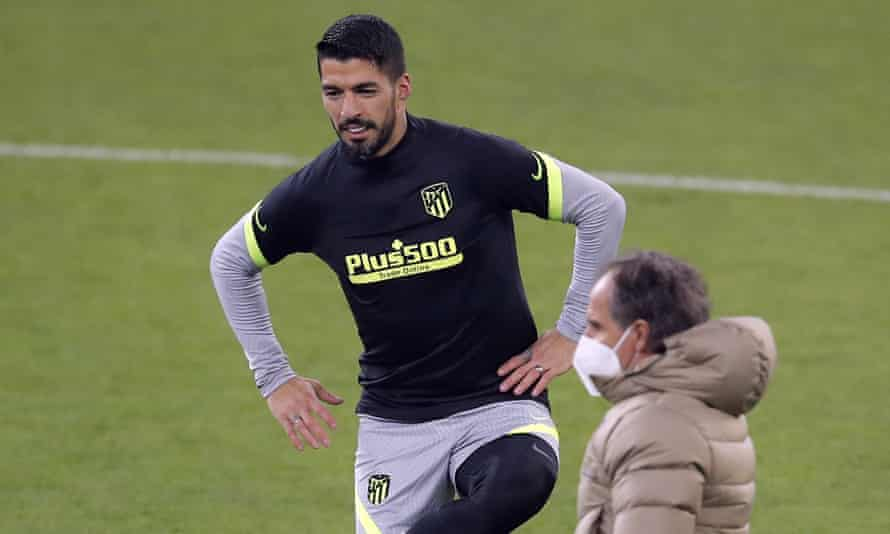 Atlético Madrid's Luis Suárez during training at the National Arena in Bucharest, venue for Tuesday's first leg against Chelsea.