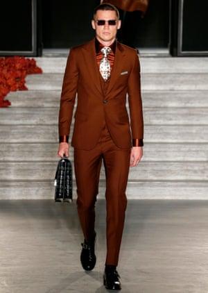 O'Shea upped the Brioni peacock factor at Paris fashion week