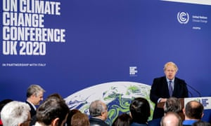 Boris Johnson addresses the United Nations Climate Change conference in central London in February.