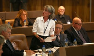 Council leader Elizabeth Campbell is heckled at a meeting about Grenfell Tower on 19 July 2017