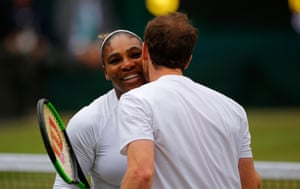 Serena Williams and Andy Murray celebrate victory.