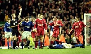 Steven Gerrard is sent off against Everton in 1999