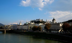 A general view shows the old town and the castle of Salzburg.