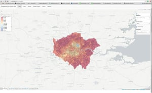 London as seen on a new Propensity to Cycle Tool