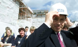 Tony Blair after laying the foundation stone for a hospital Bishop Auckland