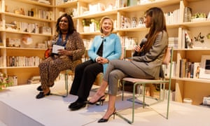 Aminatou Sow (left) and Audrey Gelman (right) interviewing Hillary Clinton at The Wing in Soho, New York in 2018.