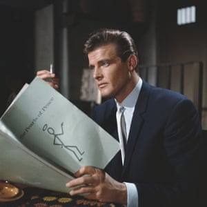 Roger Moore, who played the character of Simon Templar, reads script for The Pearls Of Peace episode of The Saint at Elstree Studios in 1962