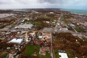 A handout aerial photograph released by the UK Ministry of Defence (MOD) on Wednesday shows debris and destruction in the aftermath of Hurricane Dorian on the island of Great Abaco in the northern Bahamas on 3 September.