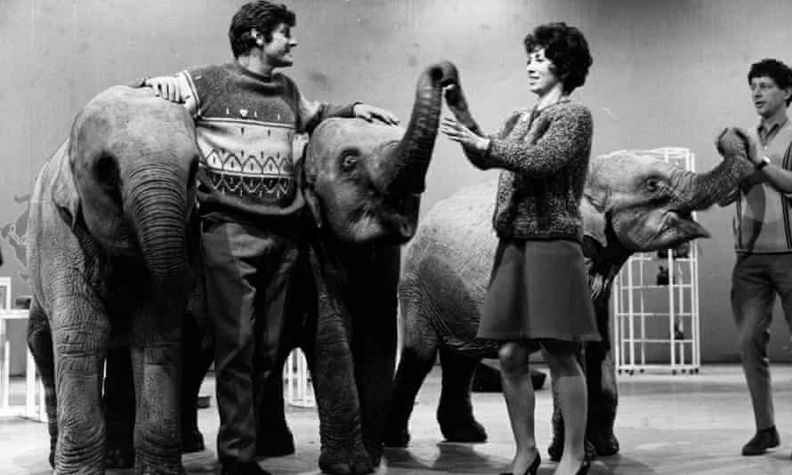 John Noakes, far right, with Peter Purves and Valerie Singleton, in the Blue Peter studio in 1969.