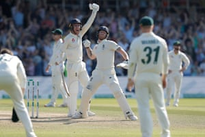 Ben Stokes and Jack Leach celebrate after their last-wicket stand led to victory at Headingley against Australia.