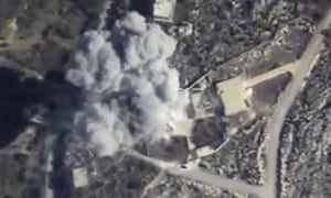 Footage from the Russian Defence Ministry of an explosion after airstrikes carried out by Russian air force on Idlib.