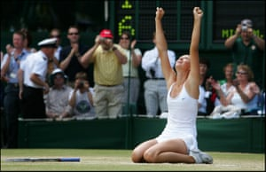 MARIA SHARAPOVA CELEBRATES AFTER SHE BEAT SERENA WILLIAMS TO WIN THE 2004 WOMENS SINGLES TITLE ON CENTRE COURT
