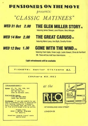 A leaflet for the classic matinees at the Rio from the 1980s.
