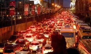 heavy traffic during rush hour  in Manila, philippines